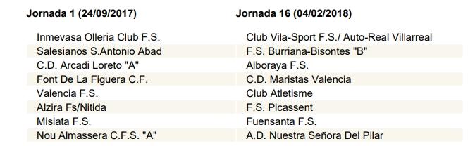 Calendari Futsal