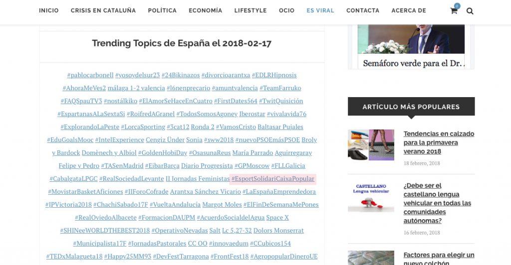 Trending Topic España 17-2-2018