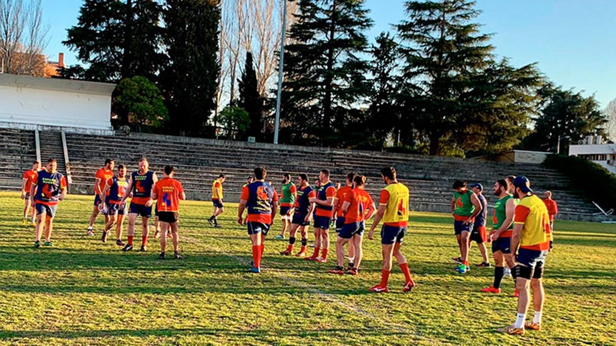 Entrenamiento de la selección española de rugby
