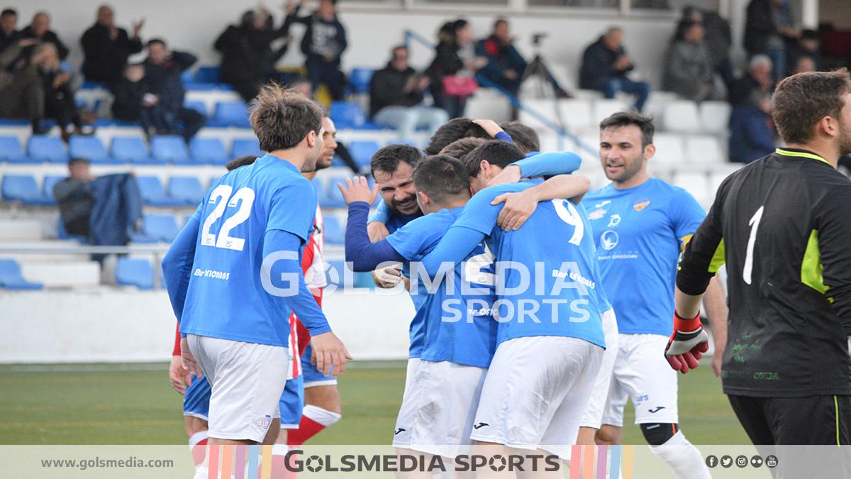 celebración gol burriana febrero 2019