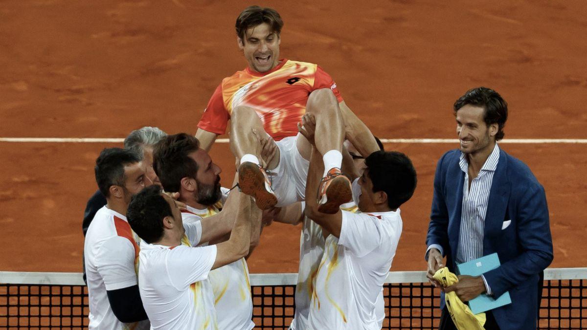 David Ferrer en volandas Mutua Madrid Open