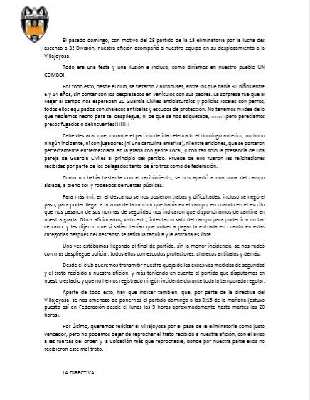 Comunicado UD Castellonense Villajoyosa