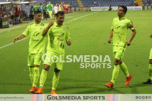 David Torres celebrando un gol con el Ontinyent en un partido ante el Hércules