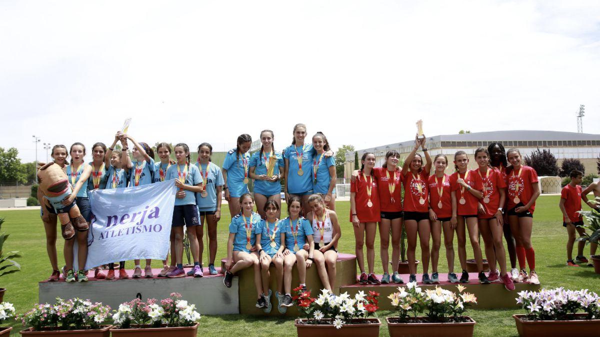 Podio femenino Nacional Atletismo Sub-14 2019