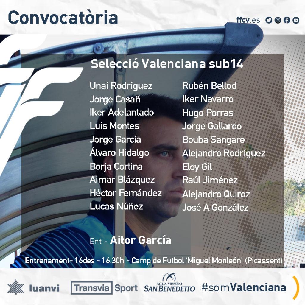 Seleccio Valenciana Sub-14 convocados