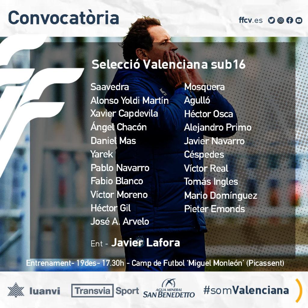 Convocatoria seleccio valenciana sub-16