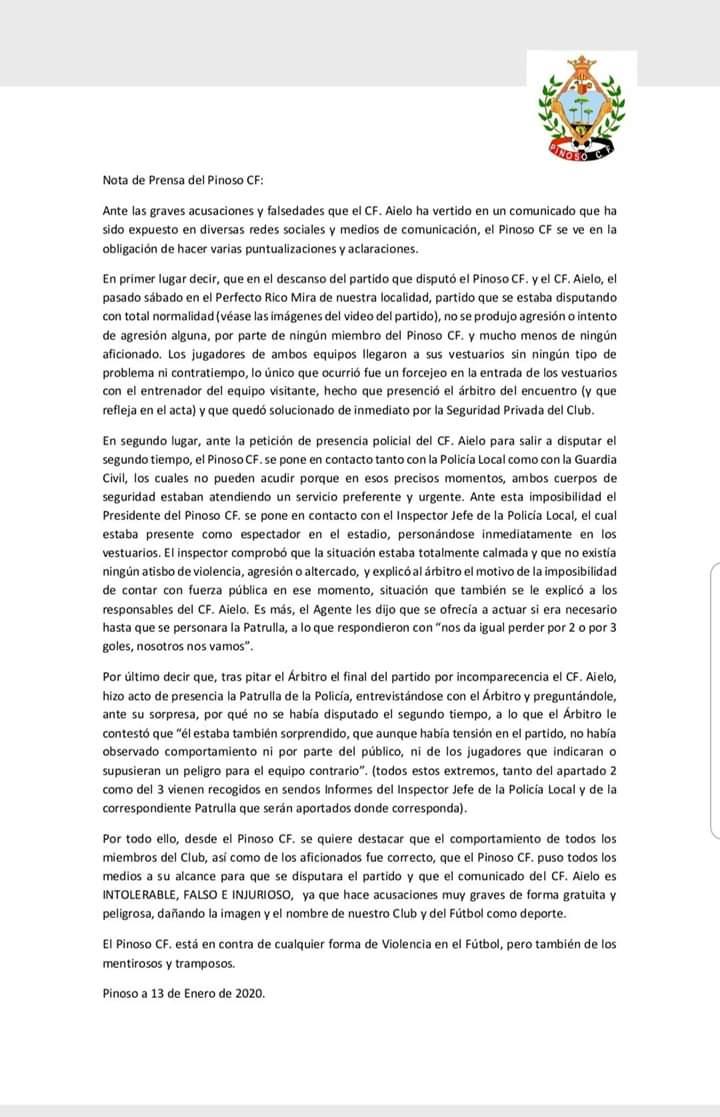 Comunicado Pinoso CF sobre Aielo CF