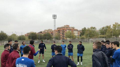 Michel Carrilero y el CD Manchego en un entrenamiento en Ciudad Real. CD Manchego