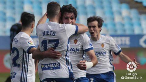 Francho Serrano Iván Azón Francés Real Zaragoza celebran gol