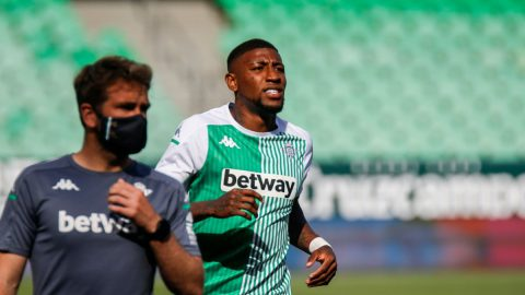 Emerson durante el entrenamiento del Real Betis