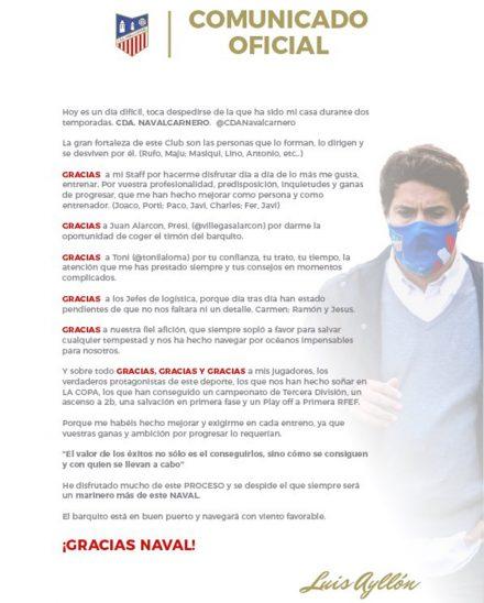 Carta despedida Luis Ayllón Navalcarnero