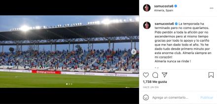Publicación de Samú Costa tras la eliminación de la UD Almería