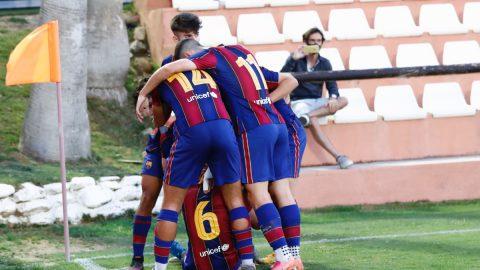 Celebración gol Barcelona Juvenil semifinales Copa Campeones