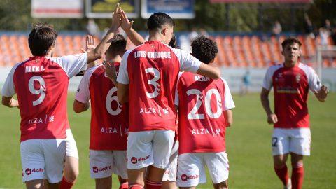 Jugadores RSD Alcalá celebración gol